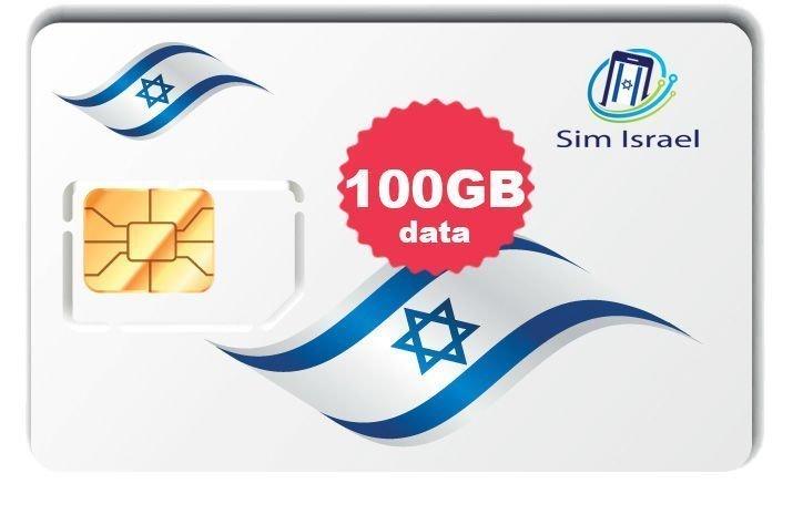 Karta Sim z pakietem 100GB mobilnego internetu 4G w Izraelu - 14 dni ważności pakietu