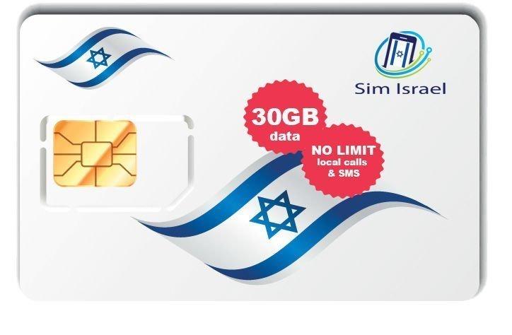 Karta Sim z pakietem 30GB mobilnego internetu 4G w Izraelu - 3 dni ważności pakietu